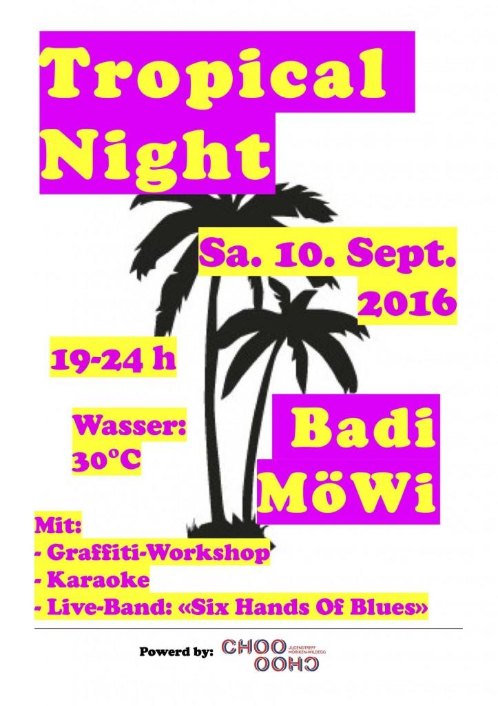 Flyer Tropical Night 2016 gelb-pink